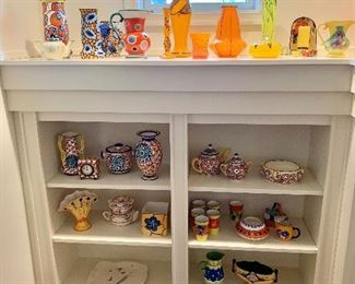 Large collection of Czech glass and pottery