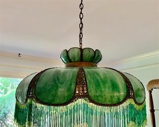 Slag glass hanging lamp with beaded trim