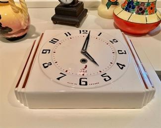 Vintage ceramic wall clock by JEX.  Made in France