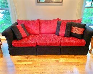 Custom rolled arm three cushion sofa