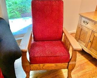 Morris style vintage reclining chair with custom upholstery