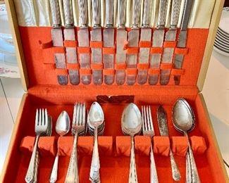 Silver plate flatware set with art deco case