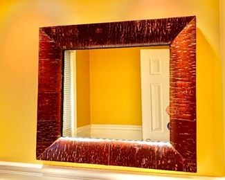 """Faux """"Bark"""" painted mirror"""