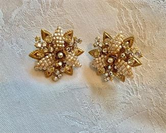 Miriam Haskell signed vintage clip earrings