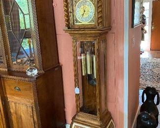 Fine German Herschede Oak Tall Case Clock $800