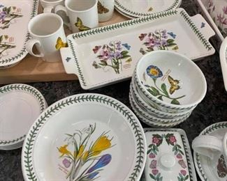 """Portmeirion The Botanic Garden Dish Set Only one chip on one of the cups, otherwise perfect condition. Includes: -2 Spoon rests -Salt & Pepper Shakers -12 Small cups & 12 saucers -5 Canisters -1 Teapot -Sugar & Creamer Dishes - 4 Teacups with 4 Saucers -1 14"""" Rectangle Serving Dish -5 Coffee Cups -Wine Glasses -1 15"""" Rectangle Dish -2 Egg dishes -10 Salad Bowls -4 Fruit Bowls -1 Butter Dish -Gravy Bowl with Saucer -2 Soup Bowls -1 Strainer -1 Large Serving Bowl -1 Square Serving Dish -1 Soup Tureen with Lis -1 Separated Dish -1 Oval Serving Platter -1 Plastic Tray -10 Small Plates -2 Medium Plates -1 Large plate  Please bring plenty of boxes & packing.  Pickup in 77084."""