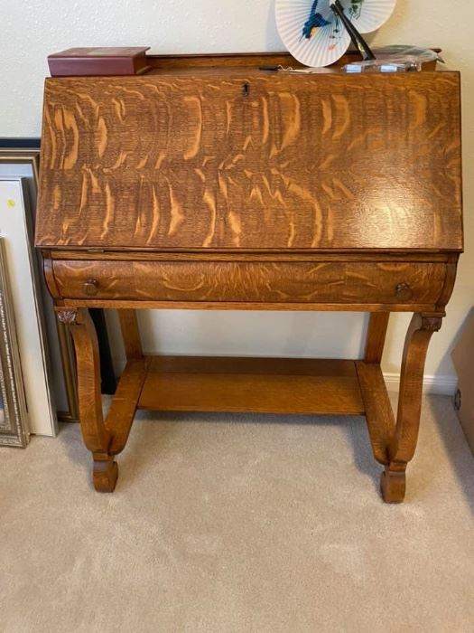 """Antique Tiger Oak Secretary Desk Great condition! Measures: 32"""" across x 16 1/2"""" deep x 28"""" tall to desk, 40"""" tall to top.  Must be able to move and load yourself."""