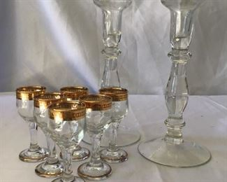 6 Gold Trimmed Cordials and a Set of Candlesticks