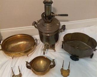 Brass Samovar and Bowls