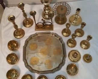 Brass Candle Holders and Serving Platter