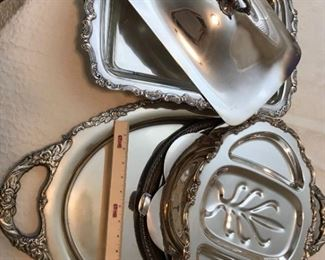 Large Silverplate Serving Trays