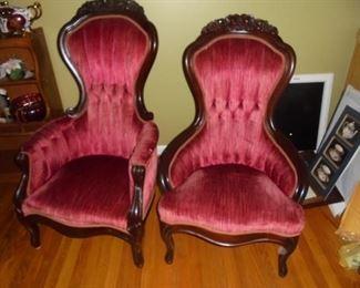 Gentleman's & ladies victorian parlor chairs