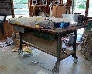 Metal Work table on wheels
