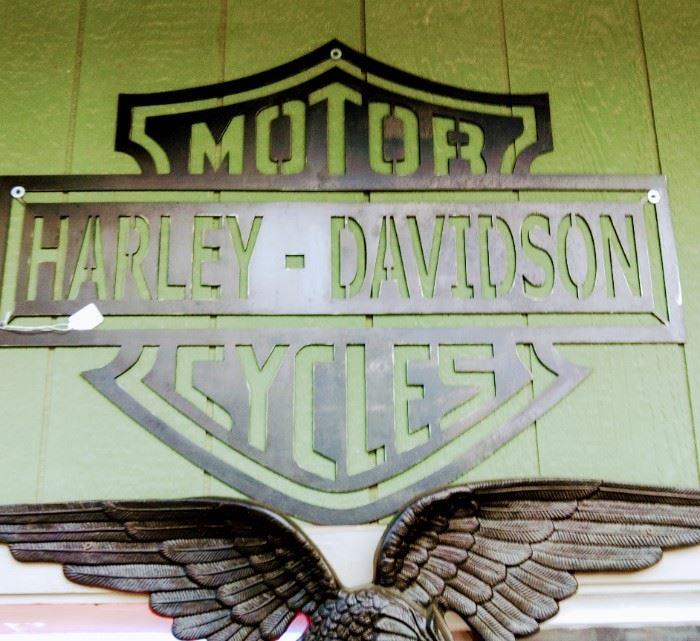 Metal Harley Davidson Sign w/ large cast aluminum Eagle