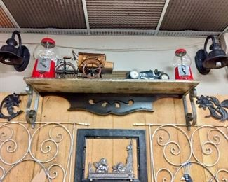 Antique Shelf w/ wrought iron corbels, Vintage gumball machine, Cast iron picture frame.