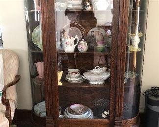 Antique Oak China Hutch & Contents