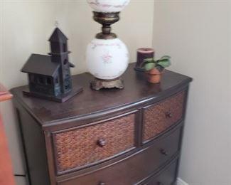 Fenton Lamp and Small Dresser