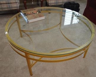 Mehagian store, brass and glass coffee table