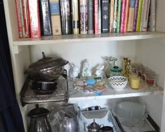 Lots of great cook books and other kinds... plated serving pieces, plates, bowls, decorations