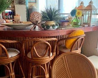 rattan bar stools with nautical theme cushions