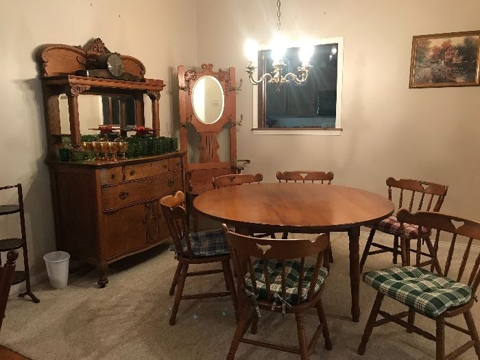 Antique oak side bar/buffet table and  hall tree , mid century maple dinette table and chairs