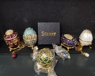 Stauer eggs with matching egg necklace.