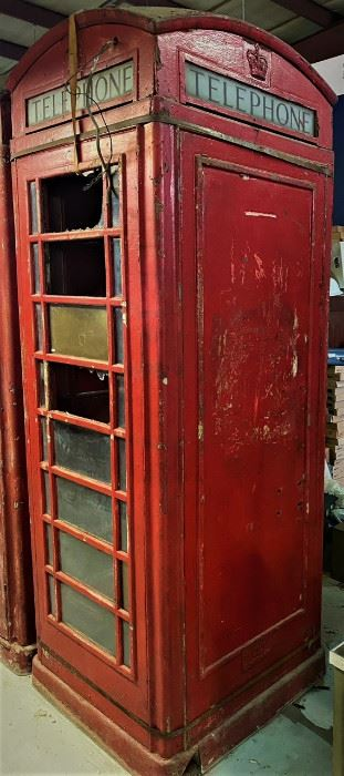 British K6 Red Box telephone booth with St Edwards Crown.