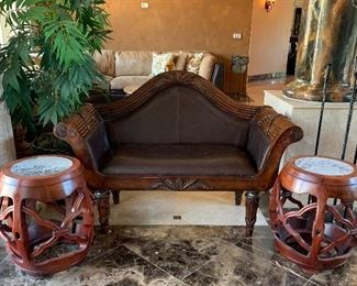 Tommy Bahama Style Settee, Chinese Drum Tables, Faux Tree