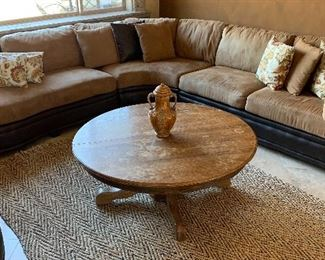 Microfiber and Faux Leather Sectional w Ottoman, Vintage Oak Pedestal Coffee Table