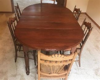 Wood Dining Table with 6 Chairs and 3 Leafs! 1/3