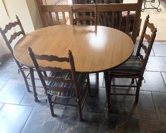Dining Table with 4 Wicker Seat Chairs 1/4