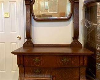 """Claw Footed, Victorian Chest W/Small Mirror-Chest Measures Approx. 30"""" Tall X 40"""" Wide X 19"""" Deep. Mirror is 46"""" (Top of Mirror to Top of Chest) and 34"""" Wide"""