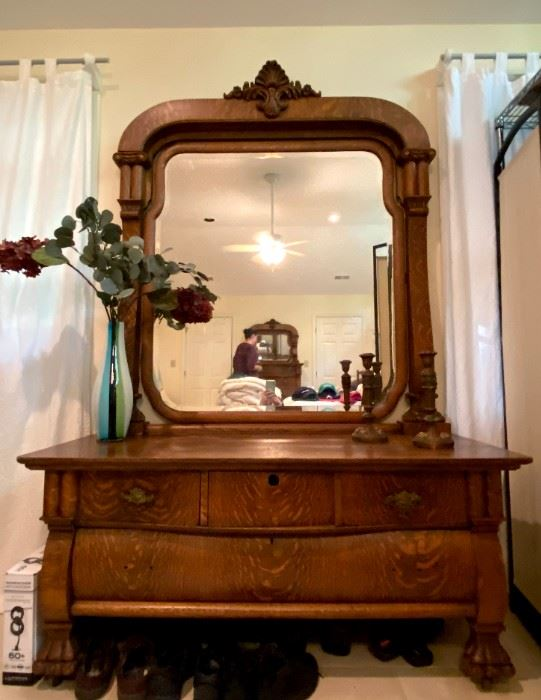 """Beautiful Claw Foot Dresser W/Mirror-approximately 6'7"""" Tall X 56"""" Wide"""