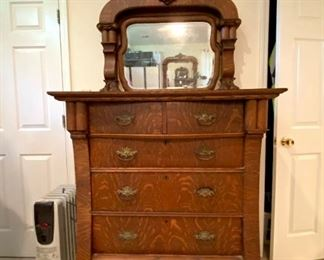 """Victorian Style, Claw Foot, Mirrored Chest of Drawers, Stunning Craftsmanship-approx. 7' Tall, 40"""" Wide, 19"""" Deep"""