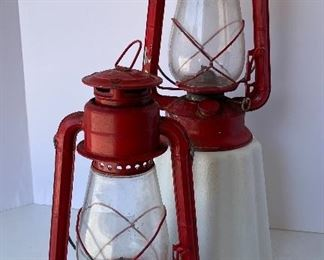 """06/  Dietz Junior oil lamps • Set of two • 12"""" tall  • $ 40"""