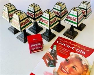 10/  CocaCola™ Shaded Tea-light candlesticks (7) • toothpick dispenser • CocaCola history book • sold as lot •$150 NOW $95