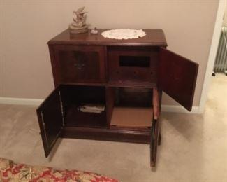 Inside of vintage cabinet