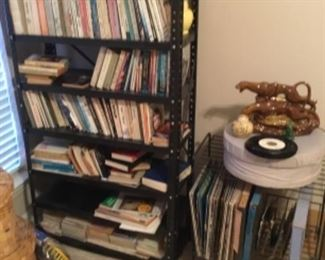 Shelf with books - record stand & LP vinyl records