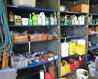 Bags of Screws, Bolts, and Misc, Gas and Diesel Cans, Misc yard items