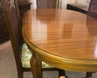 Beautiful finish Table has a custom pad and leaf