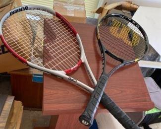 #8 Tennis lot - 2 rackets, new balls and basket $65