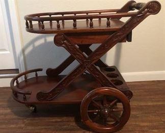 Mahogany Wood Serving Cart