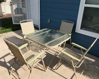5 pc Patio Set - Glass Top Table & Foldable