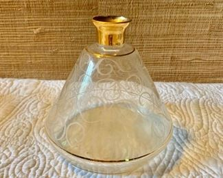 """$40 Domed bottle/vase with swirl etching.  5"""" H, 5.5"""" diam."""