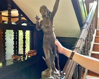 """$325  Jean-Baptiste Germain Spelter Lamp Woman Figure with torch, signed on base .  Approx 24"""" H, base 5"""" diam."""