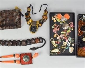 5Grouping of Beaded & Natural JewelryGrouping of jewelry included beaded necklaces, wood and rope necklace, beaded bag, earrings, Jorues plastic tile clutch.