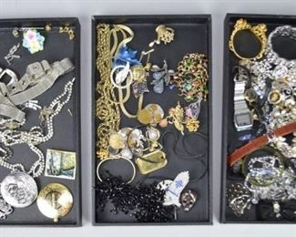 3Grouping of Costume & Other JewelryGrouping of jewelry including costume, Accessory Accent NYC belt, Bauer brooch, rhinestone, gold tone, silver tone, beaded, brooches, bangles, necklaces, button covers, watches.