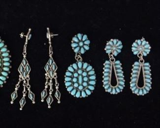 """8Turquoise & Sterling Native American JewelrySigned P&V Byjoe Zuni pin/pendant, pair of unsigned earrings, single signed JPP earring, pair of unmarked earrings, single unmarked earring, unmarked hair pin. Byjoe pin/pendant 3""""-diameter"""