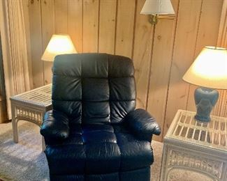 Navy leather recliner