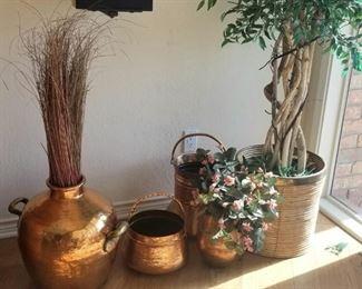 Polished brass pots